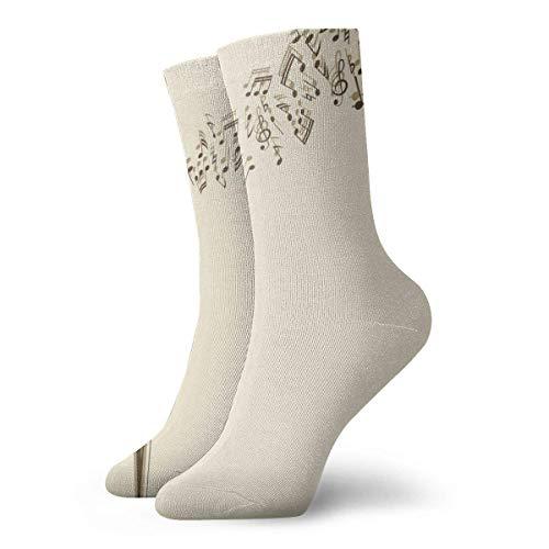 Hongfago Calcetines de moda para adultos unisex calcetines casuales cálidos calcetines deportivos calcetines gruesos clásicos Retro musical Notes Karaoke