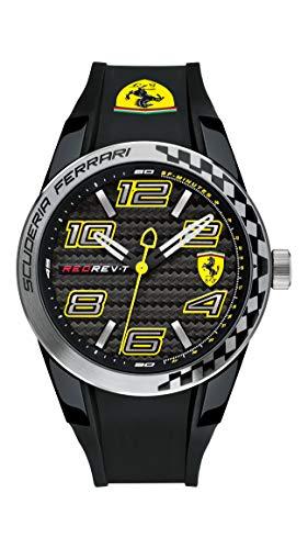 Ferrari 0830337 RedRev T - Reloj analógico de pulsera para hombre (cuarzo, correa de silicona)