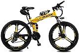 Fangfang Bicicletas Eléctricas, Bicicleta eléctrica Plegable de la batería de Litio de la montaña de la Bici Adulta Sola Rueda Botella de Agua de alimentación portátil y cómodo,Bicicleta