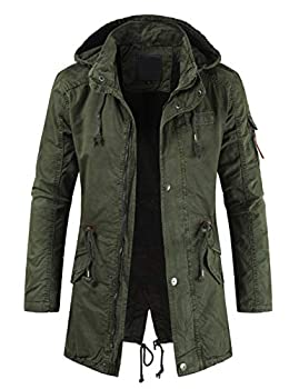 chouyatou Men s Spring Military Full-Zip Removable Hooded Cotton Mid-Long Parka Jacket Coat  Large Army Green
