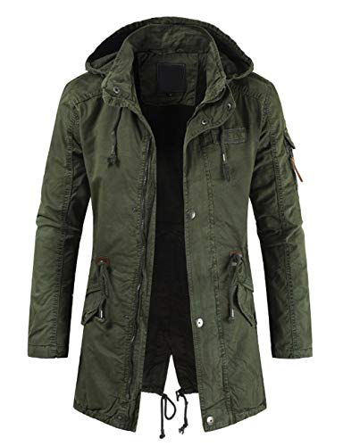 chouyatou Men's Spring Military Full-Zip Removable Hooded Cotton Mid-Long Parka Jacket Coat (Large, Army Green)