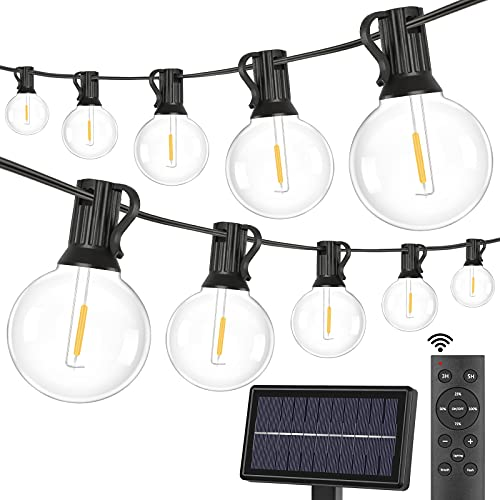 2-Pack Solar G40 Dimmable String Lights with Remote Controls 100FT, 3 Light Modes Outdoor Waterproof LED Globe Hanging Lights with Shatterproof 50+2 Edison Bulbs for Patio Balcony Porch Party Backyard