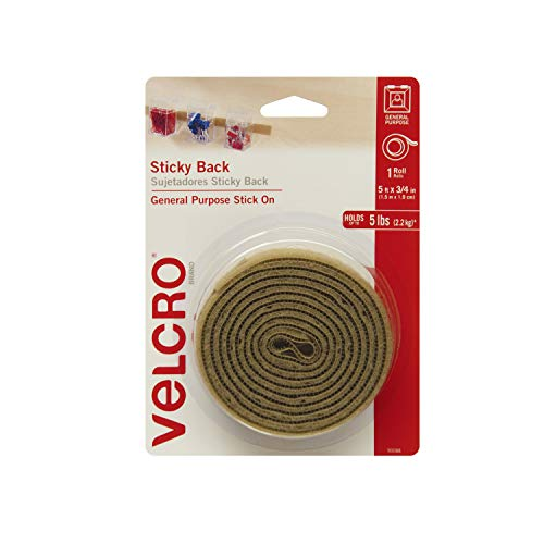 VELCRO Brand Beige Sticky Back Hook and Loop Fasteners| Perfect for Home or Office | 5ft x 3/4in Roll, 5 ft x 3/4