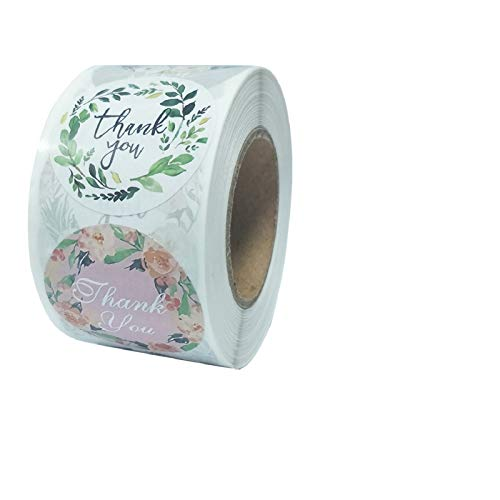 500pcs Thank You Stickers,8 Types Floral Designs 1.5 Inch Thank You Handmade Sticker Roll for Business, Thank You Labels for Bags, Envelopes, Christmas Gifts, Wedding, Party, Bubble mailers & Boxes