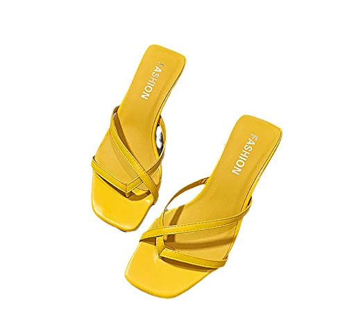 Beach Sandal Zehentrenner,Sauna Schuhe Sandalen,Flip-Flop-Sandalen, Dicke Fersen-Flip-Flops-gelb_36