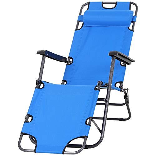 Outsunny Sonnenliege mit Kissen, Klappbare Strandliege, 2-Stufige Gartenliege, 2-in-1 Relaxliege, Metall + Oxfordstoff, Blau 135 x 60 x 89 cm