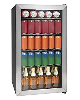 Igloo IBC35SS New And Improved 135-Can Capacity Stainless Steel LED-Lighted Double-Pane Glass Door Beverage Center Refrigerator and Cooler for Soda, Beer, Wine and Water, 3.5 Cu. Ft.