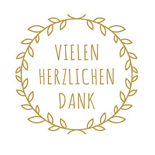 Super Idee 100 kleine runde Aufkleber Vielen Herzlichen Dank 4cm Durchmesser Selbstklebende Sticker für Hochzeit Taufe Kommunion Geburtstag Gastgeschenke give-Away Deko Feste Geschenke Präsente
