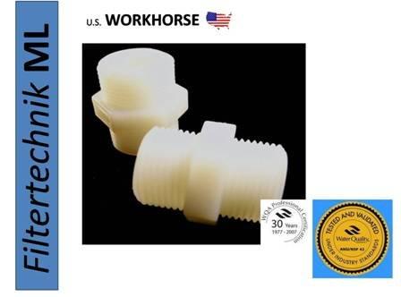 1 Zolll auf 1 Zoll DOPPELNIPPEL Verbindungsstücke HART-Plastik Weiss-Transparent Wasserfilter Osmose Filter Umkehrosmose