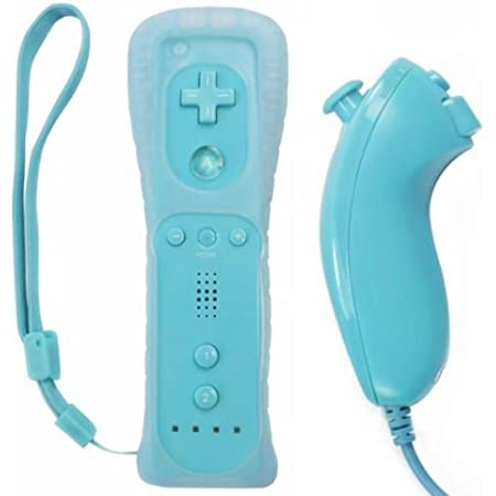 Remote Controller for Wii,Yudeg Wii Remote and Nunchuck Controllers with Silicon Case for Wii and Wii U(not Motion Plus) (Blue)