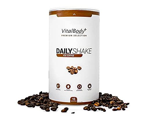 VitalBodyPLUS® DailyShake, Ice Coffee, 450 g, Mahlzeitenersatz-Shake zum Abnehmen, 15 Mahlzeiten vollwertig & kalorienarm ersetzen