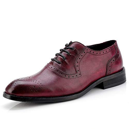 Sunny&Baby Chaussures de Sport Brogues Respirantes sculptées Oxford décontractées de Couleur Classique pour Hommes Résistant à l'abrasion (Color : du vin, Taille : 39 EU)