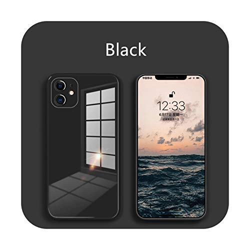 Carcasa de cristal líquido para iPhone 12 11 Pro X XS Max XR SE2 7 8 Plus resistente a los arañazos y caídas de colores contraportada - Negro - Para iPhone 6 6s
