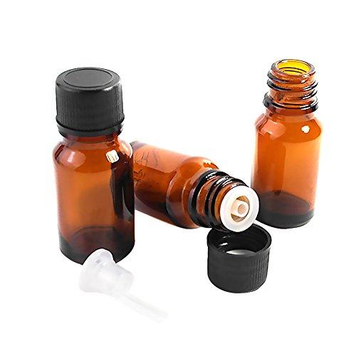 HugeDE 10 Stück 10ml Leer Glasflaschen Ätherisches Öl Flaschen Braunglasflasche mit Kappe