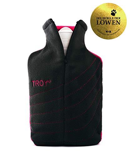 TROY – die sichere Wärmflasche – 2x so lange warm – schneller auf Wohlfühltemperatur – wird nicht zu heiß – (Grau/Pink)