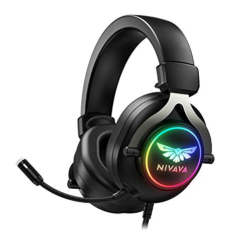 Nivava K11 Gaming Headset, PS4 Headset with Noise Canceling Microphone, Over-Ear Gaming Headphones with Surround Sound, Soft Earmuff & RGB Light for PC Xbox One PS5 Nintendo Switch Mac Laptop (Black)