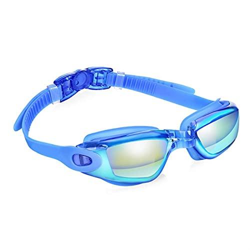 SRXSMGS Gafas natación Gafas Deportivas para Hombres y Mujeres Anti-Niebla UV Silicona Gafas de natación con Nariz y Tapones para los oídos (Color : Blue)