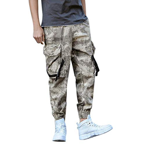 ITISME Männer Cargo Chino Jogginghose, 2019 Herbst und Winter Lose Baumwolle Tactical Herren Sommer Camouflage Casual Tooling Multi-Pocket Fashion Bequeme Hose Outdoor Jogger Camping Pants