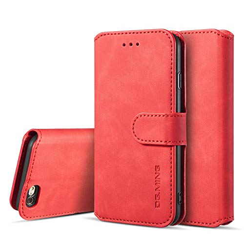 UEEBAI PU Leather Case for iPhone 6 Plus iPhone 6S Plus, Vintage Retro Premium Wallet Flip Cover TPU Inner Shell [Card Slots] [Magnetic Closure] Stand Function Folio Shockproof Full Protection - Red