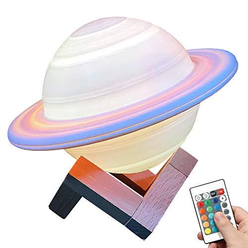 Sunbaby 16 Colores de la Luna de la Lámpara Saturno Luz de la Noche Niño de la Galaxia de la Lámpara LED 3D de la Luna de la Lámpara con Soporte de Madera USB Recargable Luz