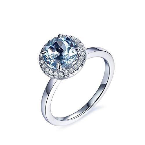 Daesar Anello in Oro Bianco 18Kt, Fedine Fidanzamento Donna Rotondo Anello Acquamarina Naturale 1.32ct Diamante Anello Donna Misura 12