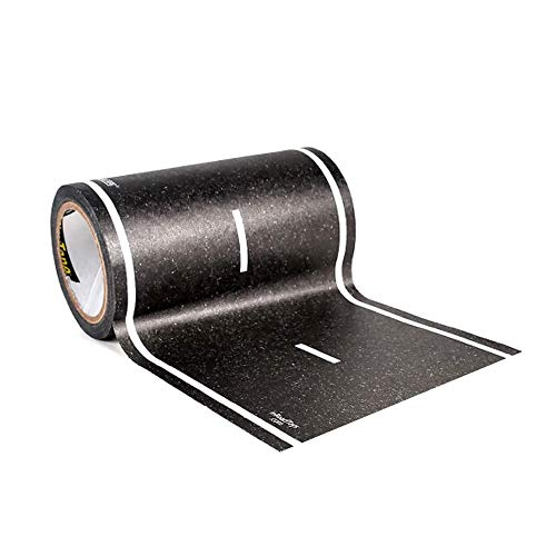 """PlayTape Black Road 30'x4"""" - Road Car Tape Great for Kids, Sticker Roll for Cars and Train Sets, Stick to Floors and Walls, Quick Cleanup, Children Toys Birthday Gift"""