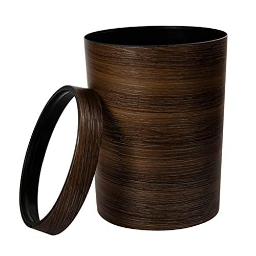 GARNECK Papelera de Madera de Bambú Papelera Vintage Retro Papelera de Plástico de Madera de Simulación Contenedor Papelera Decorativa de Estilo de Granja Papelera para La Oficina en Casa