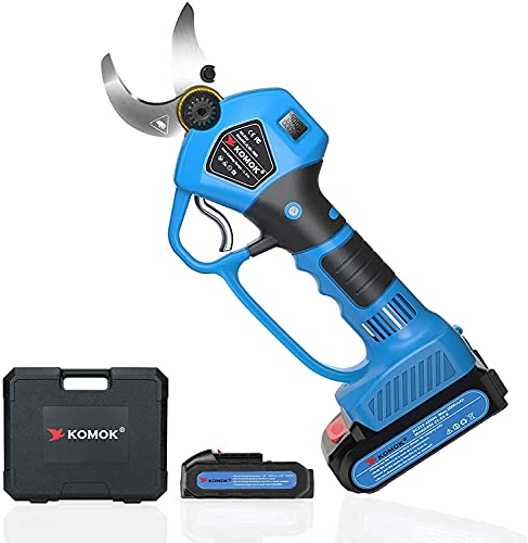 KOMOK Tijeras de Podar Eléctricas a Batería con Pantalla LED Guardamanos 2 Piezas de Baterías de Litio Recargables 2Ah 30 MM (1.2 Pulgadas), 6-8 Horas de Trabajo (Azul)