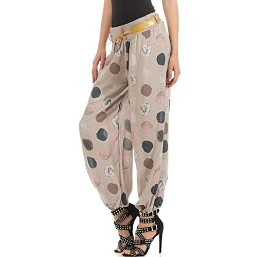 WOZOW Yoga Hosen Damen Boho Polka Dots Muster Print Druck Bloomers Loose Lose Lang Long Casual Belt Mid Waist Riemchen Straight Haremshose Pumphose Trousers Freizeithose Stoffhose (S,Beige)