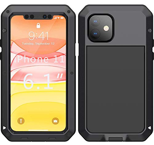 iPhone 11 Case - Military Grade Drop Tested, Anodized Aluminum TPU Rugged Dustproof Shockproof Heavy Duty 360 Full Body Built-in Screen Protector Protective Case Cover for Apple iPhone 11 (Black)