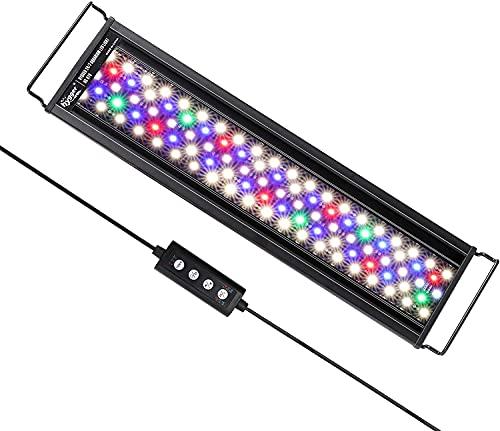 hygger Aquarienbeleuchtung, Aquarium LED Beleuchtung, 24/7 Modus für Sonnenaufgang-Tageslicht-Mondlicht, einstellbare Zeitschaltung einstellbare Helligkeit, mit ausziehbarer Halterung, 7 Farben