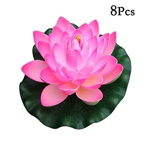 Flikool 18cm Künstliche Lotus Blumen Schwimmende Seerosen Eva Schaum Nymphaea Künstliche Pflanzen Teichpflanzen Lilien Kunstpflanzen Wasserlilie Lotusblüte Kunstblumen für Dekor 8pcs - Pink