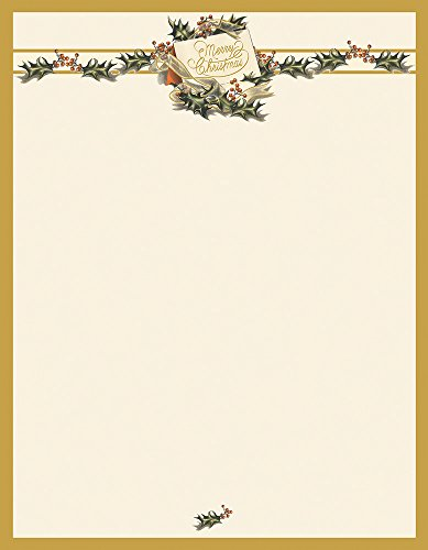 Great Papers! Vintage Christmas Holly Letterhead, 80 count, 11' x 8.5' (2011872)