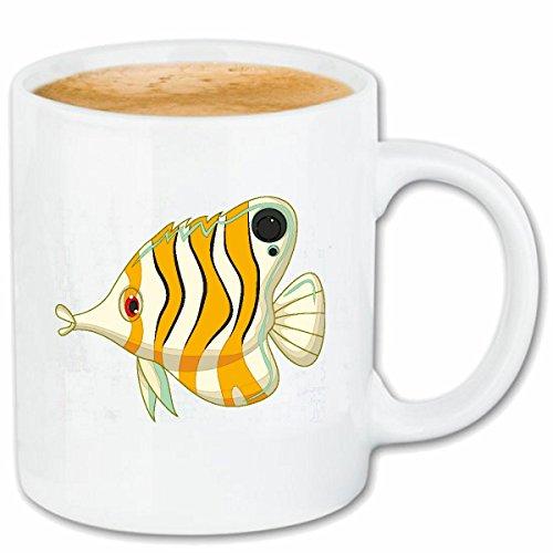 Bandenmarkt koffiemok kleurrijke van de siervis met lange neus vis vissen aquarium 330 ml in wit