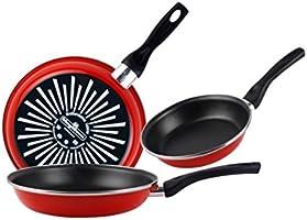 Magefesa Grana Juego de Sartenes 18Ø 20Ø 24Ø de acero esmaltado, con antiadherente bicapa reforzado y color rojo...
