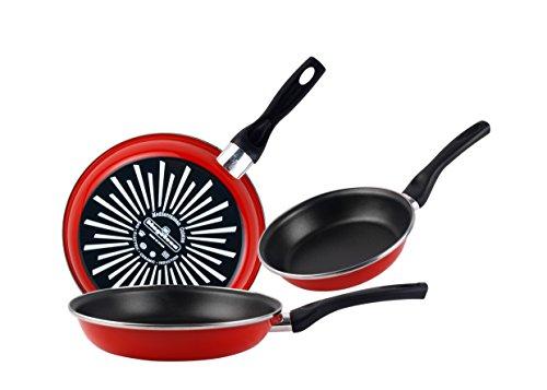 Magefesa Grana Juego de 3 sartenes (18/20/24)cm de acero vitrificado exterior color rojo. Antiadherente bicapa reforzado, aptas para todo tipo de cocinas, especial inducción. 50{8dc77a31fea0d5322b3f3a45ef9729fe4cc5318a7361dc572124c8208bd8b5ff} de ahorro energético.