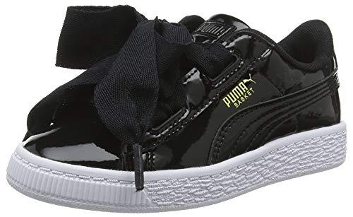 Puma Basket Heart Patent PS', Scarpe da Ginnastica Basse Bambina, Nero Black Black, 31 EU
