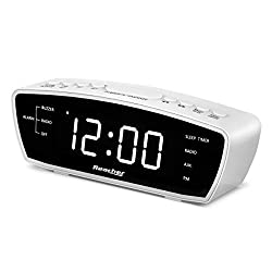 Reacher Simple Alarm Clock Radio with USB Charger Port, FM Radio, Dimmer, 6 Snoozes 9-Minute intervals, Adjustable Alarm Volume for Heavy Sleepers, for Bedrooms (White)