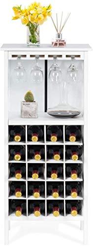 XMJ Soporte de Almacenamiento para Botellas de Vino de Madera Estante para Copas de Vino Colgante y Estante de exhibición, Blanco Independiente