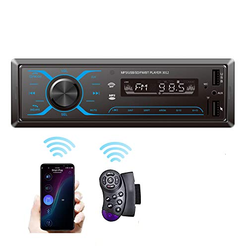 SEMAITU Smart Car Audio Systems, Single Din Multimedia Car Stereo, USB SD Support Mobile APP Control Bluetooth MP3 Hands-Free Calling, FM Radio Receiver for Car & Truck