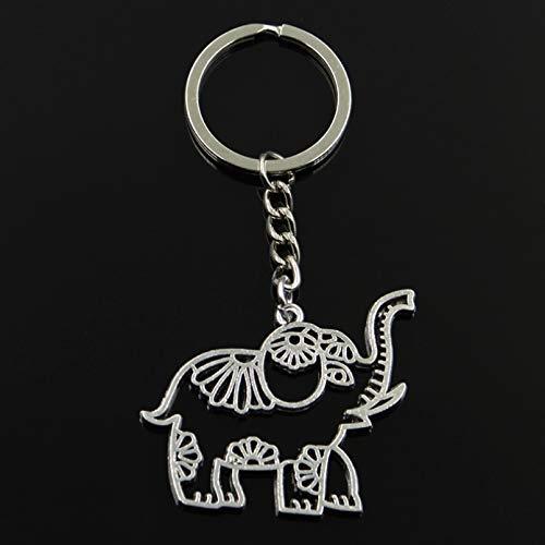 MINTUAN Fashion Keychain 41X50Mm Hollow Elephant Silver Color Pendants Diy Men Jewelry Car Key Chain Ring