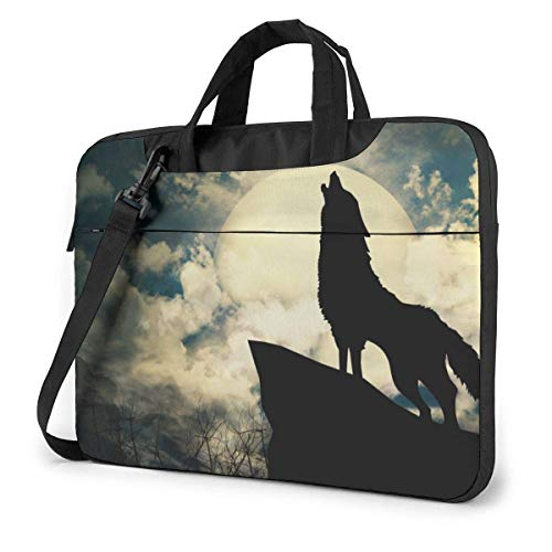 Wolf Crying Laptop Sleeve Case 15.6 Inch Computer Tote Bag Shoulder Messenger Briefcase for Business Travel