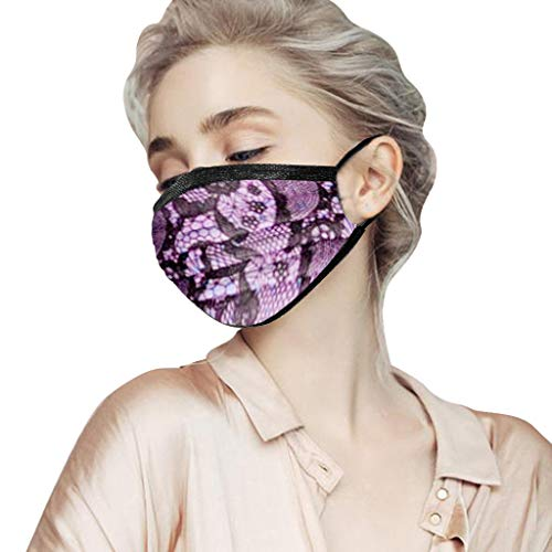Lowest Prices! 【US Stock】 Adults Face Bandana_Covering_MASK,Dìsposable Lace Printing face Cover...