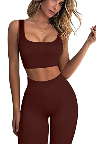 FAFOFA High Waisted Leggings for Women GMY Workout Sport Bra Tops 2 Piece Outfits Coffee S