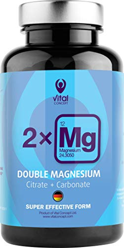 DOUBLE MAGNESIUM - Dosis de 250 mg de magnesio de alta calidad. Doble fuente, 70% de citrato y 30% de carbonato. Apoyo del corazón y los músculos. 90 cápsulas vegetarianas, 45 dias