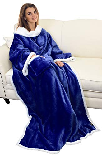 Catalonia Sherpa Wearable Blanket with Sleeves Arms,Super Soft Warm Comfy Large Fleece Plush Sleeved TV Throws Wrap Robe Blanket for Adult Women and Men Blue
