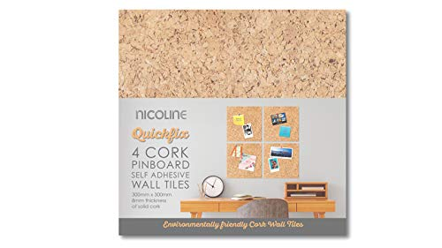 Nicoline Self Adhesive Cork Pin Board Tiles - Noticeboard Messages - 4 Pack