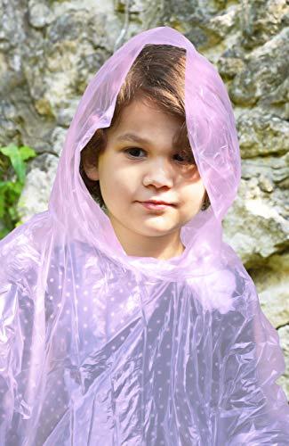 Regenponcho für Kinder Pink - 4 Stück