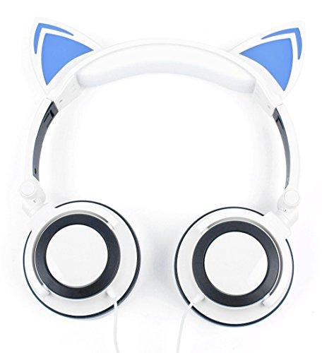 DURAGADGET Auriculares Plegables estéreo con diseño de Orejas de Gato en Color Blanco para Smatphone Hisense C30 Rock Lite/Onix S405 / Onix S551 / Oukitel K3 / SORAKA Z8 / VKWorld Mix Plus