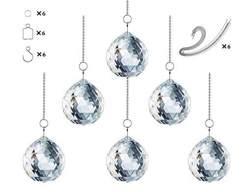 Adwikoso Pendentif boule en cristal prisme en verre Lustre à suspendre Feng Shui Suncatcher Mariage Maison Feng Shui Décoration de fenêtre 30mm-6pack